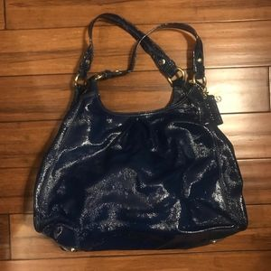 COACH MAGGIE PATENT LEATHER LARGE HOBO BAG